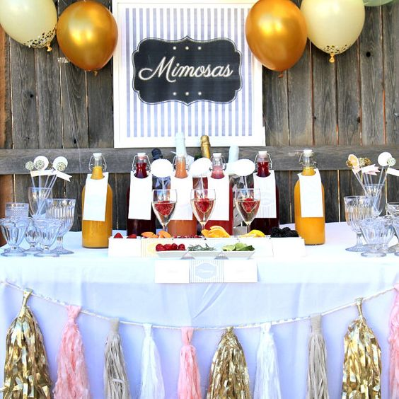mimosa bar wedding, shower or party drink station labels and signs- complete set of printable files on Etsy, $45.00