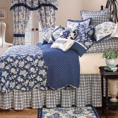 Another beautiful blue and white bedroom: