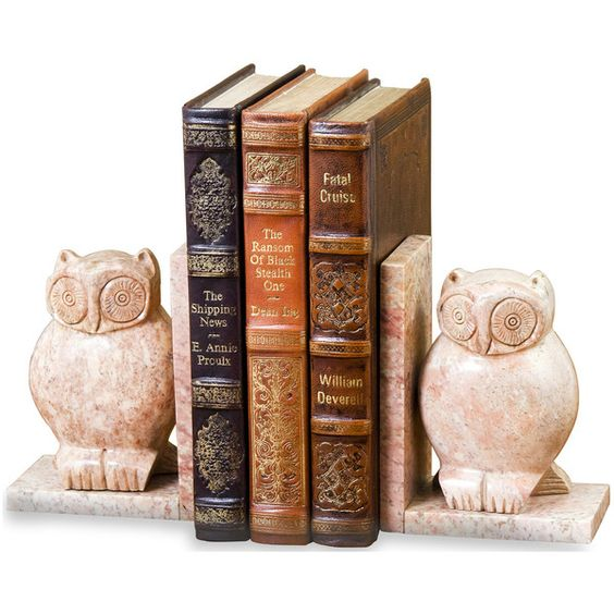 Creekside Marble Owl Bookends- Pair (€88) found on Polyvore