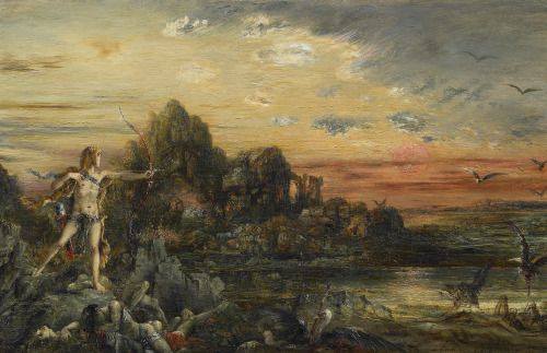 Gustave Moreau (1826-Paris-1898), Hercules at the lake Stymphale, 1872, Private Collection