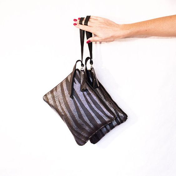 Zebra Leather Clutch Wristlet, Silver Black Brown  von gmalou auf DaWanda.com