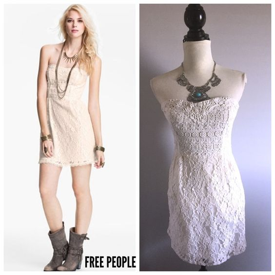 "FREE PEOPLE Ivory lace strapless dress Bust-32"" Waist-26""  Sz 2  Very cute! Too bad it's a little big for me since I usually wear a 0. Gorgeous Ivory lace with intricate design along the the front bodice and it zips on the backside. As shown by the model the dress can be dressed up or down, very versatile.  ONLY SELLING  Brand: Free People Free People Dresses Strapless"