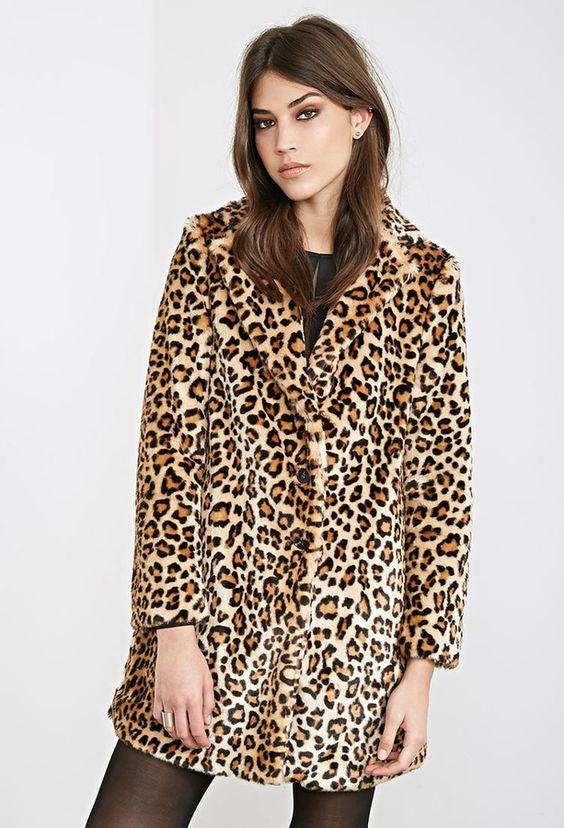 $64 Tan Leopard Fur Coat: Forever 21 Leopard Print Faux Fur Coat