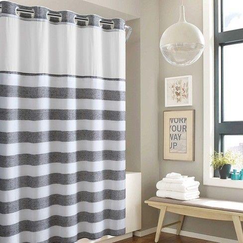Hookless Yarn Dye Stripe Shower Curtain With Liner Tan Striped