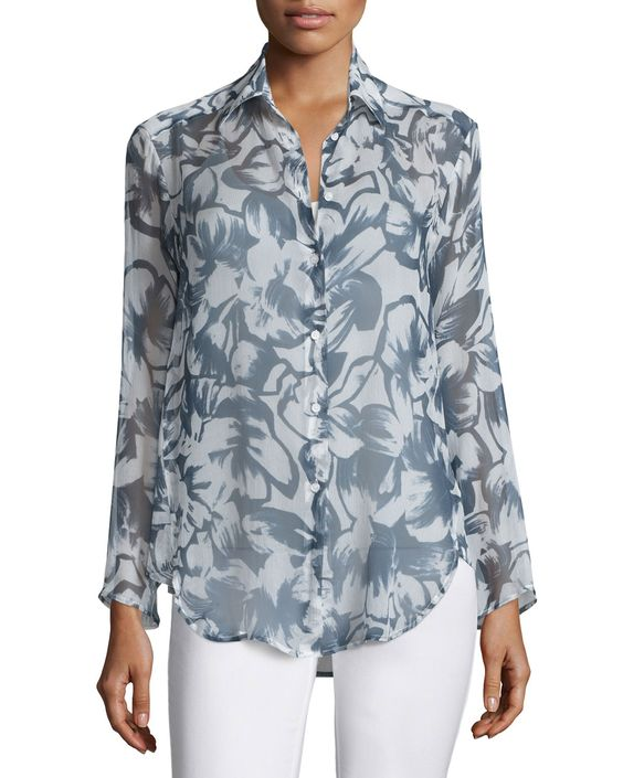 Leanne Silk Long-Sleeve Blouse, Blue Multi, Bateau Blue Multi - Lafayette 148 New York