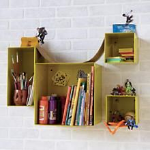 The Land of Nod | Kids Storage: Colorful Iron Wall Bins in Shelf & Wall Storage