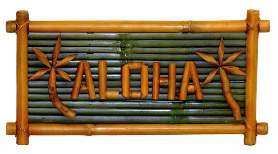 Aloha Bamboo Tiki Sign