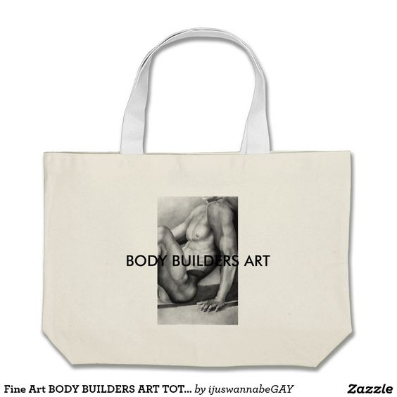 "Tote Bags with beautiful Fine Art Drawing of BODY BUILDERS ART TOTE BAG - by ""RjF"".xx."