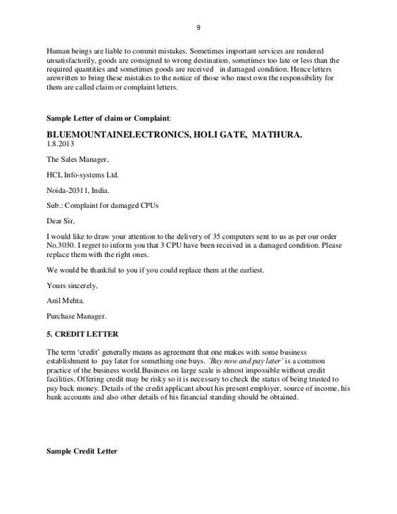 example complaint letter damaged goods cover templates regarding - complaint letters pdf