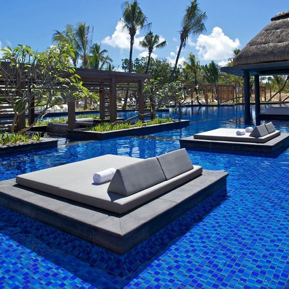 Genius in the water pool beds! Long Beach Hotel in Mauritius by Keith Interior Design and Stauch Vorster Architects.