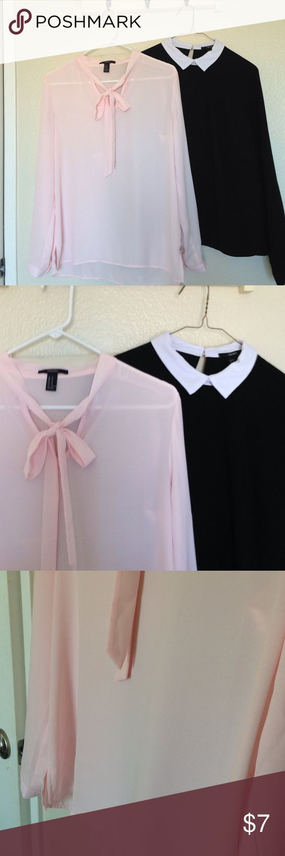 2 blouses Pink bow and black white collar blouses Set of 2 - Light Pink adjustable tie blouse and black with white collar blouses. Both long sleeve and in excellent condition. Great pice for both. Forever 21 Tops Blouses
