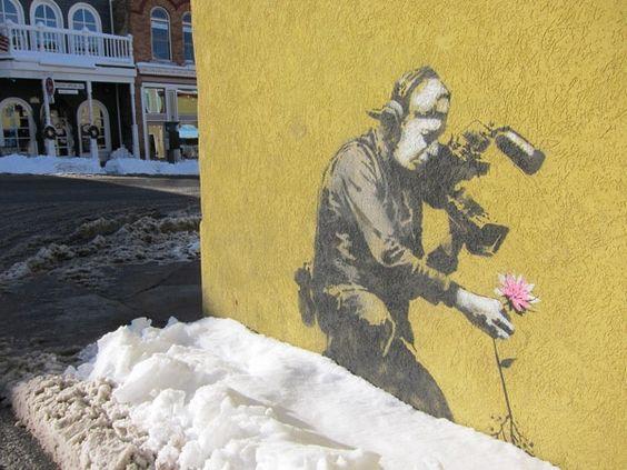 Banksy graphic art in Park City Utah.