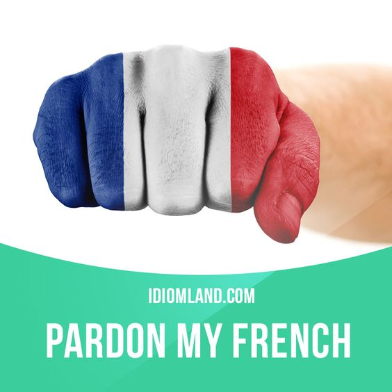 """idiomland: """" """"Pardon my French"""" means """"excuse me for swearing"""". Example: Pardon…"""