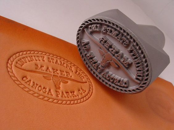 Leather Maker Hand Stamp and its impression