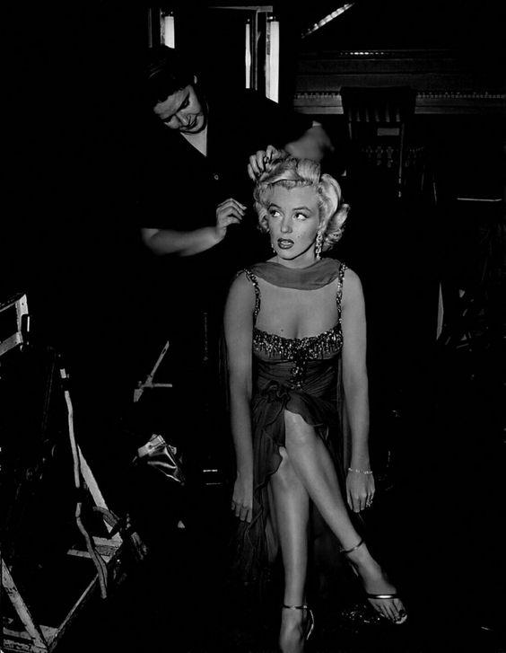 Marilyn on the set of Gentlemen Prefer Blondes, 1952.