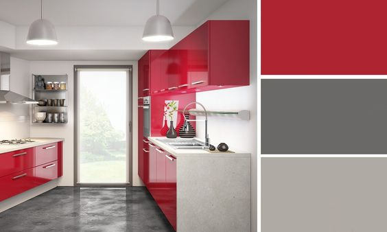 cuisine rouge et grise cuisine plus