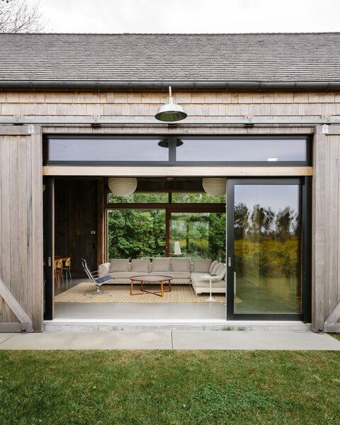 Photo 8 Of 12 In A Net Zero Energy Barn On Long Island Is A Hub For Sliding Doors Exterior Modern Door Contemporary House Design
