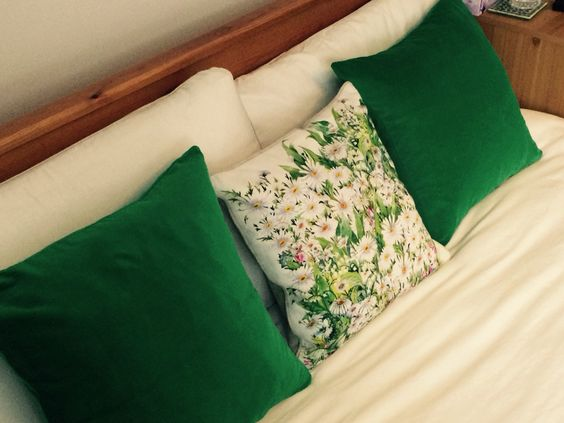 Spring time is here. Velvet green cushions made a third of the price of retail ones!!