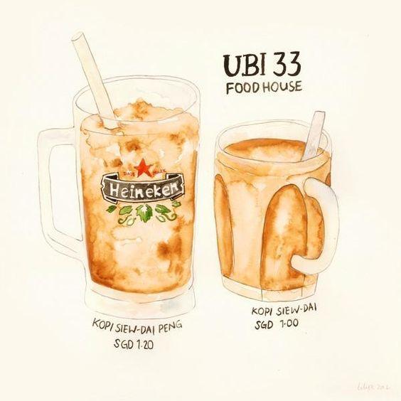 咖啡和小点心。水彩插画作品赏