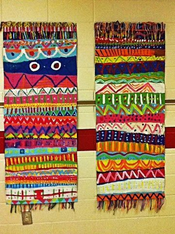it's an HSES Arty Party! First day of art project. Aztec inspired paintings