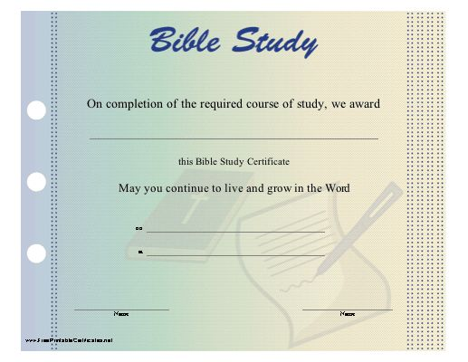 A printable certificate to be presented upon completion of a bible a printable certificate to be presented upon completion of a bible study program this bible award is illustrated with a blue ribbon and a bible wi yelopaper Image collections