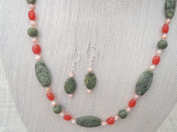 Choice of 25 or 36.5 Inch Russian Serpentine Necklace Earrings - pinned by pin4etsy.com