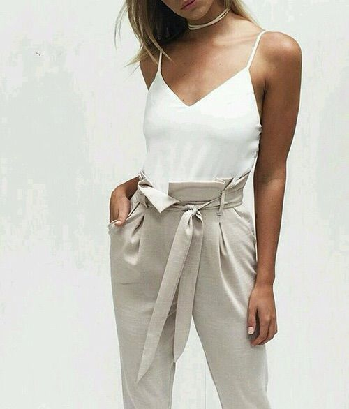 Paper bag waist pants; simple; classic; neutral colors: