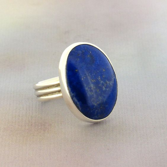 Lapis Lazuli .925 Sterling Silver Ring Size 8 Jewelry Blue Handmade in the USA.: