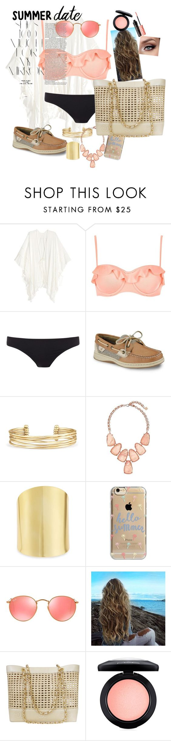 """summer date - beach day"" by katepitzel on Polyvore featuring River Island, Paul Smith, Sperry, Stella & Dot, Kendra Scott, Lydell NYC, Agent 18, Ray-Ban, Chanel and MAC Cosmetics"