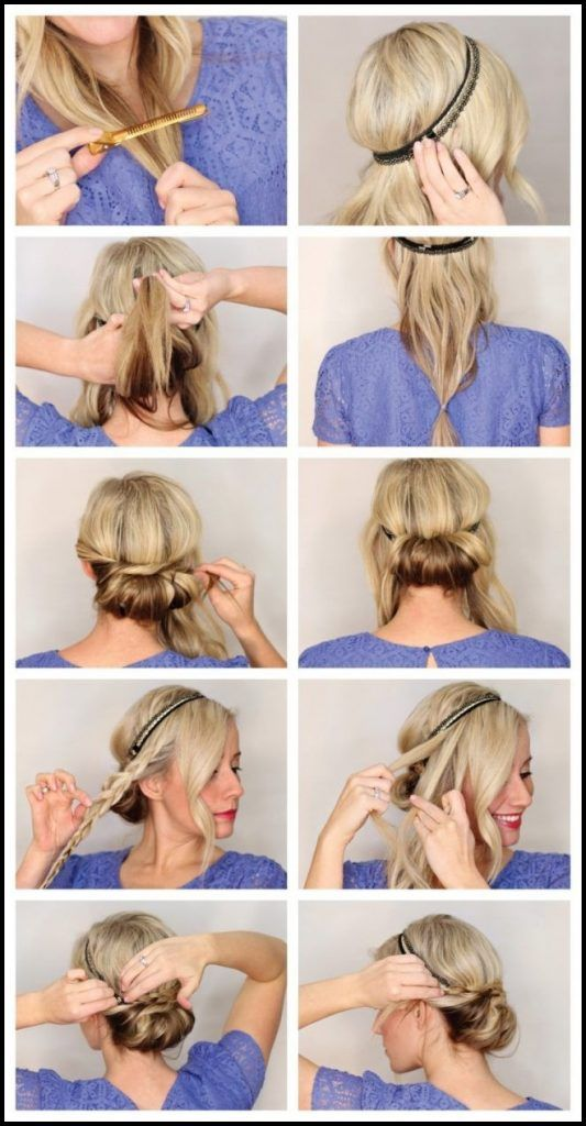 Frisuren Mit Haarband Anleitung Eindrehfrisur Zopf Hair In Haarband Frisur Haarband Frisur Anleitung Frisur Hochgesteckt
