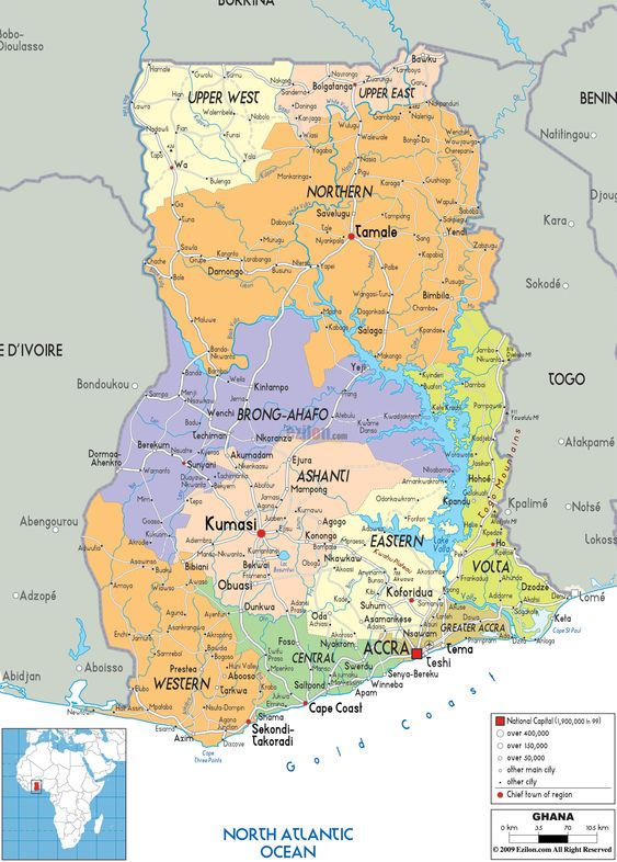Map of Ghana and Ghanaian Political Map