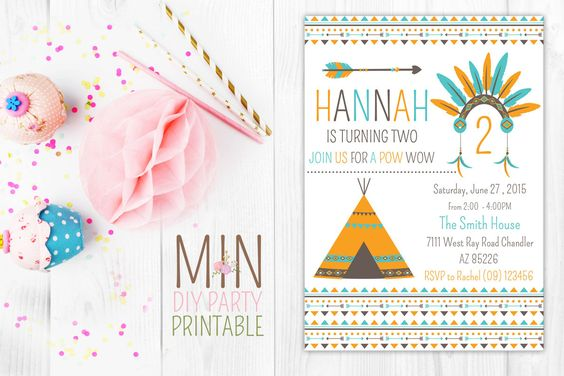Pow Wow Invitation,Tribal Birthday, Pow Wow Invitation, Feather and Arrow, Tribal Invitation, Boho Invitation, Boho Birthday, teepee invite by minprintable on Etsy https://www.etsy.com/listing/257641409/pow-wow-invitationtribal-birthday-pow