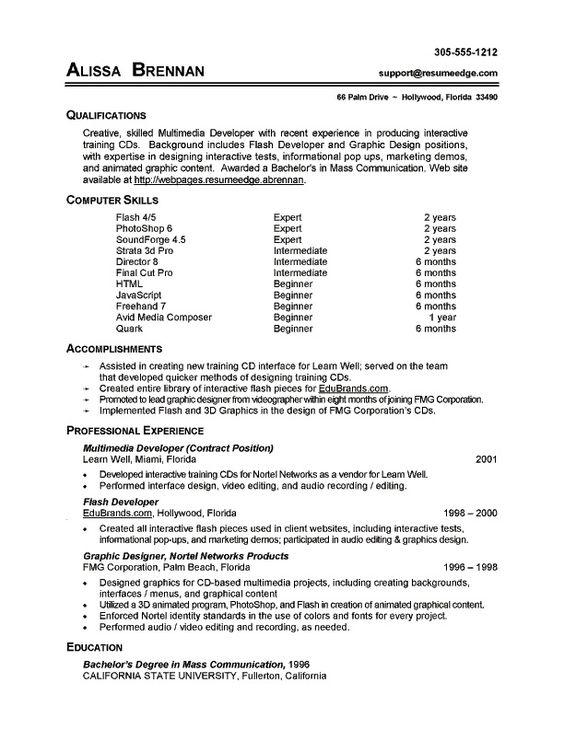 sample resume computer skills ~ Gopitch.co