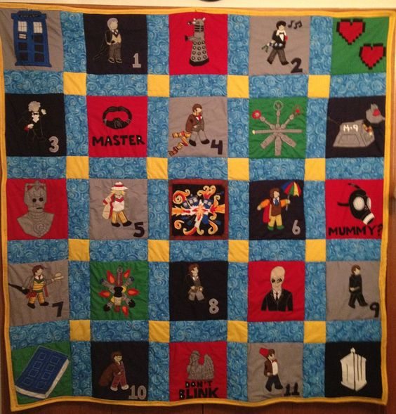 Doctor Who Applique - Patchwork Quilt. $350.00, via Etsy.