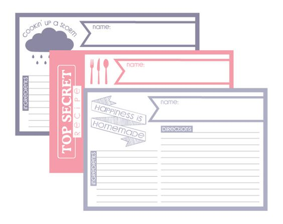 Blank Recipe Cards - Printable get organized Pinterest - index card template