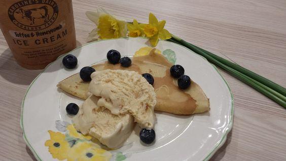 Caroline's Dairy Toffee and Honeycomb Ice Cream with blueberries pancake