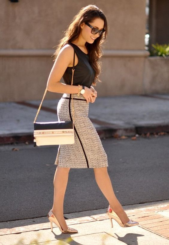 Summer Workwear Wardrobe For Women 2019: For Women, Tweed Skirt And Summer On Pinterest