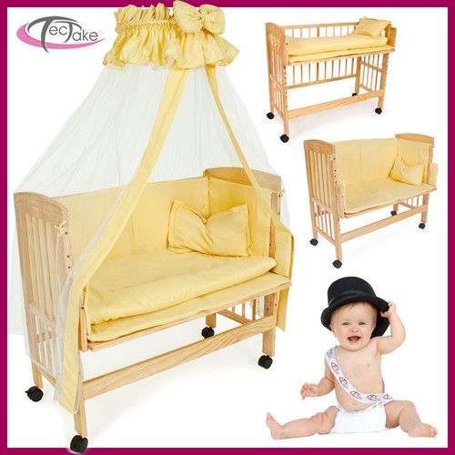 Wooden bedside cot variable height nursery furniture baby crib for Cradle bed for adults