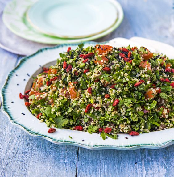 Quinoa tabbouleh: aquick and easy gluten-free salad is packed with raw vegetables, healthy seeds and wholesome grains.