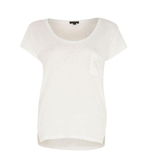 River Island White Linen Low Scoop Neck T-Shirt