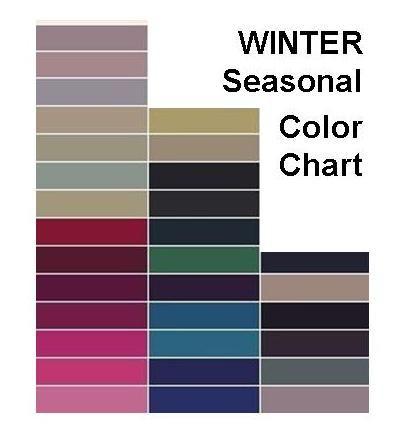 Winter Color Seasonal chart. This looks like a Soft/Toned ...