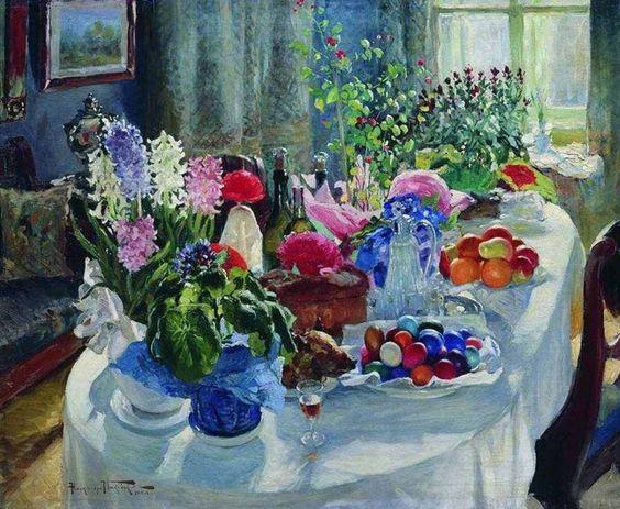 Маковский Александр Владимирович (1869 - 1924).  Пасхальный стол. 1915: