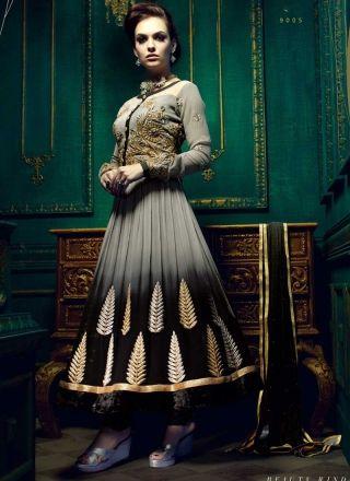 Dashing Black And Grey Georgette Shaded Anarkali Salwar Kameez  http://www.angelnx.com/Salwar-Kameez