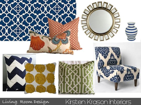 love this - Schumacher Hot House Flowers in Spark, Betwixt in Spark, blue ikat (kalah blue), Waverly lattice, black and white zigzag... so colorful!