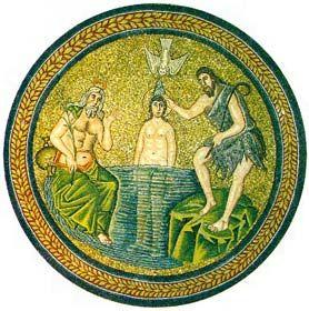San Giovanni battezza Gesù, mosaico bizantino (fine sec. V), battistero degli ariani, Ravenna.: