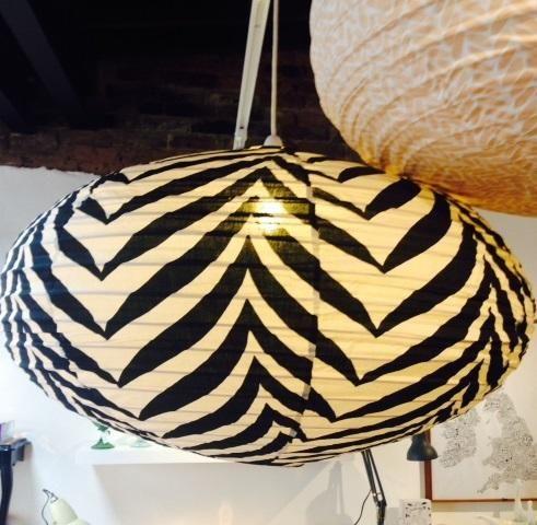 Oval Lantern Shade Black Zebra