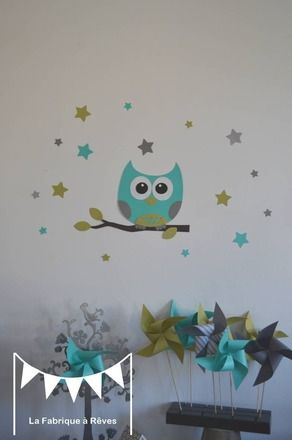 dispo stickers hibou et ses 16 toiles turquoise vert anis gris d coration chambre enfant. Black Bedroom Furniture Sets. Home Design Ideas