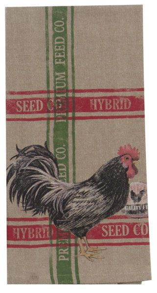 Chicken Kitchen Tea Towel | Cotton | Beige Red Green | Farm Rooster Pictorial