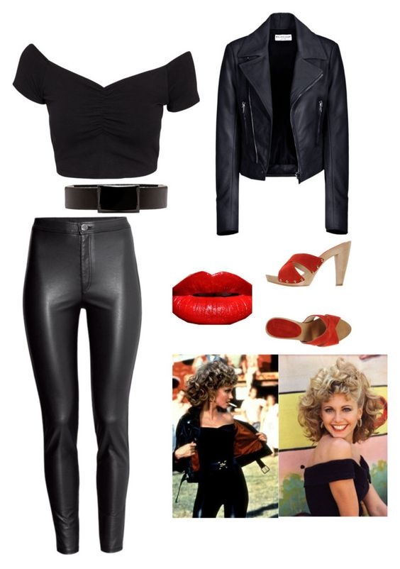 """Costume Day (sandy from grease)"" by haleyyyj0 ❤ liked on Polyvore featuring Balenciaga, H&M, NLY Trend, Vince Camuto and CHIARA PASQUINI"