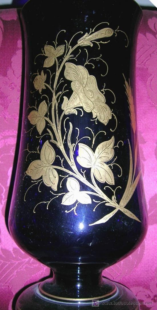 Jarr n cristal antiguo azul oscuro decoraci n en oro for Jarron cristal decoracion